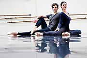 """Opera Garnier. Paris, France. 10 Septembre 2012<br /> Alice Renavand et Vincent Chaillet,  preparent """"Sous Apparence"""", une choregraphie de Marie-Agnes Gillot."""