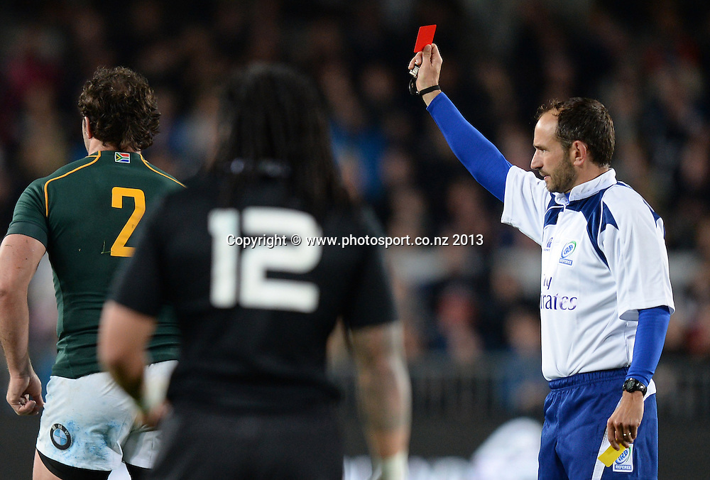 Referee Romain Poite shows Bismarck Du Plessis a red card. The Rugby Championship. New Zealand All Blacks v South Africa. Test Match Rugby Union. Eden Park, Auckland. New Zealand. Saturday 14 September 2013. Photo: Andrew Cornaga/www.Photosport.co.nz