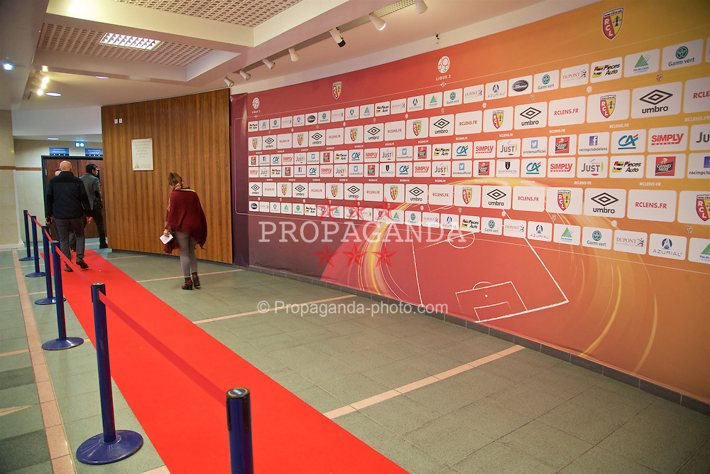 LENS, FRANCE - Wednesday, January 27, 2016: Mixed zone at the Stade Felix Bollaert, home of RC Lens, during an inspection visit ahead of the UEFA Euro 2016 Tournament. (Pic by David Rawcliffe/Propaganda)