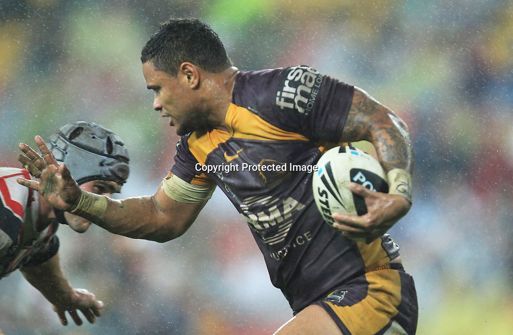 NRL - Broncos v Warriors, Sunsorp Stadium Brisbane 13 July 2012<br /> Bronco's Josh Hoffman in action<br /> Photo : Jason O'Brien / Photosport