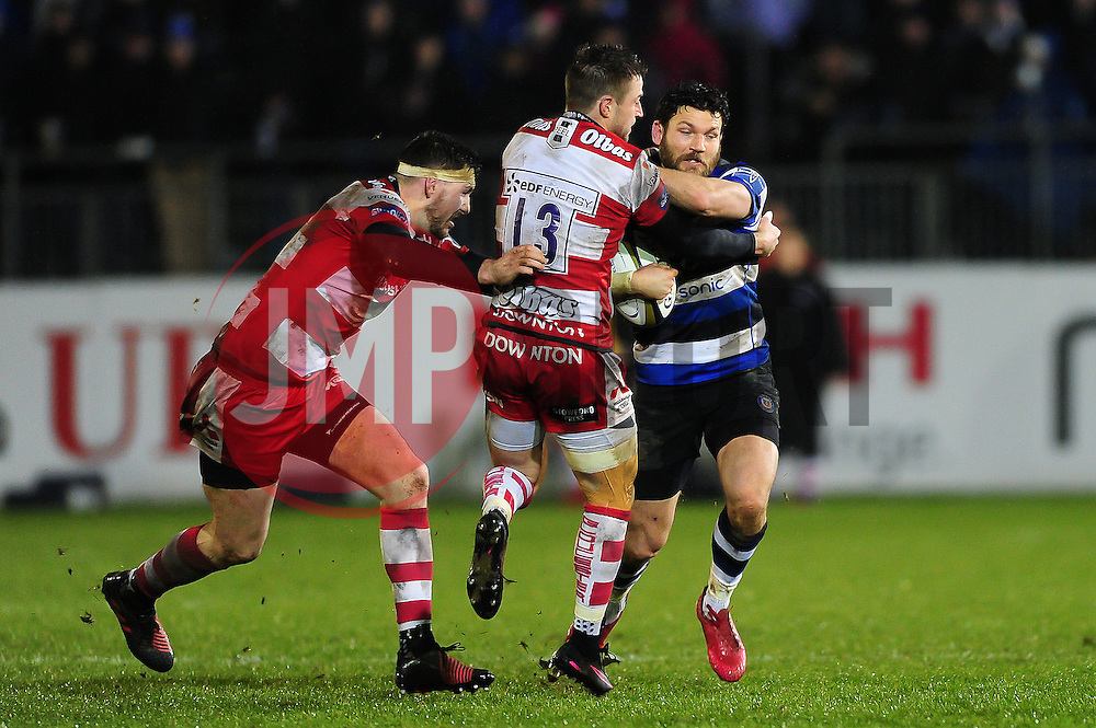 Jeff Williams of Bath Rugby takes on the Gloucester Rugby defence - Mandatory byline: Patrick Khachfe/JMP - 07966 386802 - 27/01/2017 - RUGBY UNION - The Recreation Ground - Bath, England - Bath Rugby v Gloucester Rugby - Anglo-Welsh Cup.