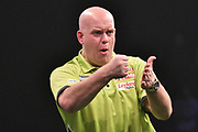 Michael van Gerwen celebrates a leg win  during the Betway Premier League Darts at the Manchester Arena, Manchester, United Kingdom on 23 March 2017. Photo by Mark Pollitt.