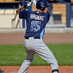 February 25, 2011; Port Charlotte, FL, USA; Tampa Bay Rays second baseman Reid Brignac (15) during a spring training split squad scrimmage at Charlotte Sports Park.  Mandatory Credit: Derick E. Hingle