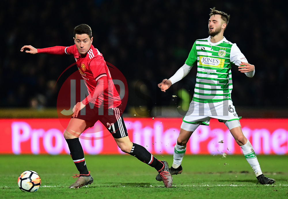 Ander Herrera of Manchester United takes on Lewis Wing of Yeovil Town - Mandatory by-line: Alex Davidson/JMP - 26/01/2018 - FOOTBALL - Huish Park - Yeovil, England -  v Manchester United - Emirates FA Cup fourth round proper
