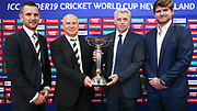 Tournament director Brendan Bourne, NZ Cricket CEO David White, ICC CEO David Richardson and Tournament Ambassador Corey Anderson pose with the ICC U19 World Cup 2018 trophy.<br /> Media conference for the Launch of the 2018 ICC U19 Cricket World Cup in Wellington, New Zealand on 30 November 2017.<br /> Copyright photo: ICC Media Zone / icc-cricket.com