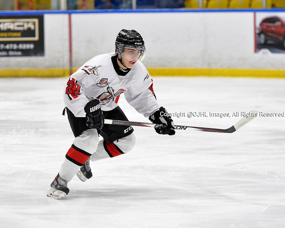 WHITBY, ON - Oct 18, 2015 : Ontario Junior Hockey League game action between Mississauga and Whitby, Michael Dischiavi #27 of the Mississauga Chargers during the first period.<br /> (Photo by Shawn Muir / OJHL Images)