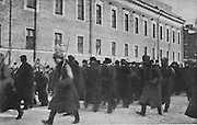 Anti-revolutionaries arrested and taken to the  Peter and Paul fortress in Petrograd, later St Petersburg, during the Russian Revolution, photograph by Daily Mirror, published in L'Illustration no.3867, 14th April 1917. Picture by Manuel Cohen