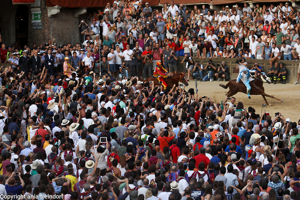 The Palio Di Siena, horse race festival at Piazza Del Campo in Siena, Tuscany, Italy.