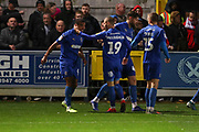 AFC Wimbledon striker Kweshi Appiah (9) celebrating after scoring goal to make it 1-1 during the EFL Sky Bet League 1 match between AFC Wimbledon and Lincoln City at the Cherry Red Records Stadium, Kingston, England on 2 November 2019.