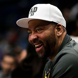 Feb 12, 2019; New Orleans, LA, USA; Anthony Davis Sr. father of New Orleans Pelicans forward Anthony Davis (not pictured) watches courtside during the fourth quarter against the Orlando Magic at the Smoothie King Center. Mandatory Credit: Derick E. Hingle-USA TODAY Sports