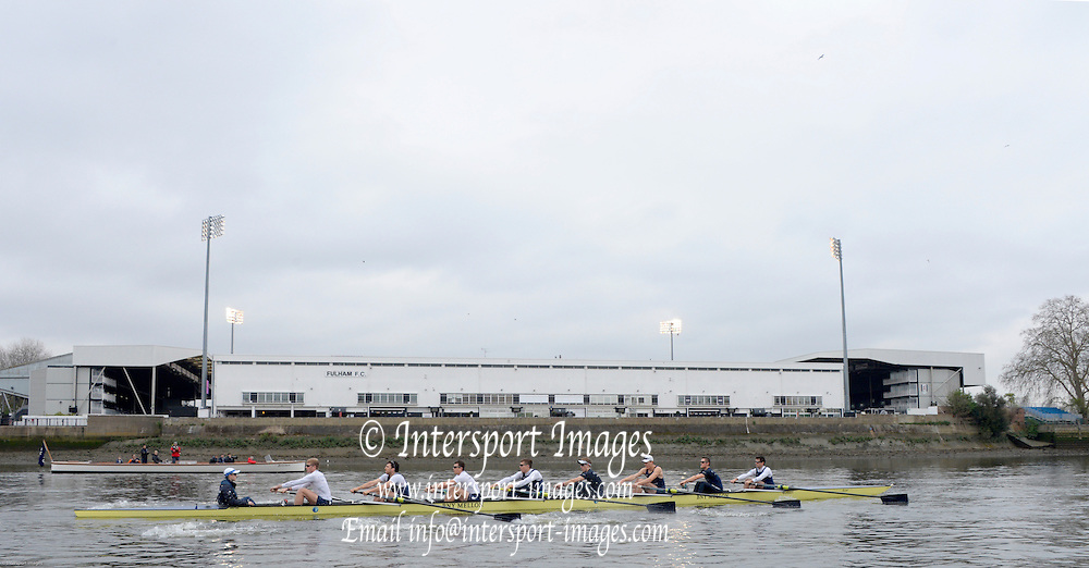 London, United Kingdom.  Friday Morning, Oxford Training session  2014, Varsity, Tideway Week, annual training week, both crews based at Putney, Championship Course,  River Thames;   10:25:07 - Friday  - 04/04/2014  [Mandatory Credit; Peter Spurrier/Intersport Images].<br /> <br /> OUBC. Bow. Storm URU, 2. Tom WATSON, 3. Karl HUDSPITH, 4. Thomas SWARTZ, 5. Malcolm HOWARD, 6. Mike DI SANTO, 7. Sam O&rsquo;CONNOR, Stroke. Constantine LOULOUDIS and Cox Laurence HARVEY.