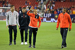 SANTA CLARA, USA - Saturday, July 30, 2016: Liverpool's injured players Marko Grujic, Emre Can, Lucas Leiva and Joel Matip after the International Champions Cup 2016 game against AC Milan on day ten of the club's USA Pre-season Tour at the Levi's Stadium. (Pic by David Rawcliffe/Propaganda)