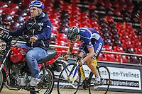 Virgine Cueff - 27.01.2015 -Entrainement Equipe de France de cyclisme sur piste - Saint Quentin en Yvelines <br />Photo : Anthony Dibon / Icon Sport
