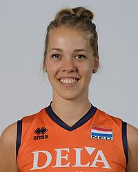 21-05-2014 NED: Selectie Nederlands volleybal team vrouwen, Arnhem<br /> Op Papendal werd het Nederlands team volleybal seizoen 2014-2015 gepresenteerd / Femke Stoltenborg