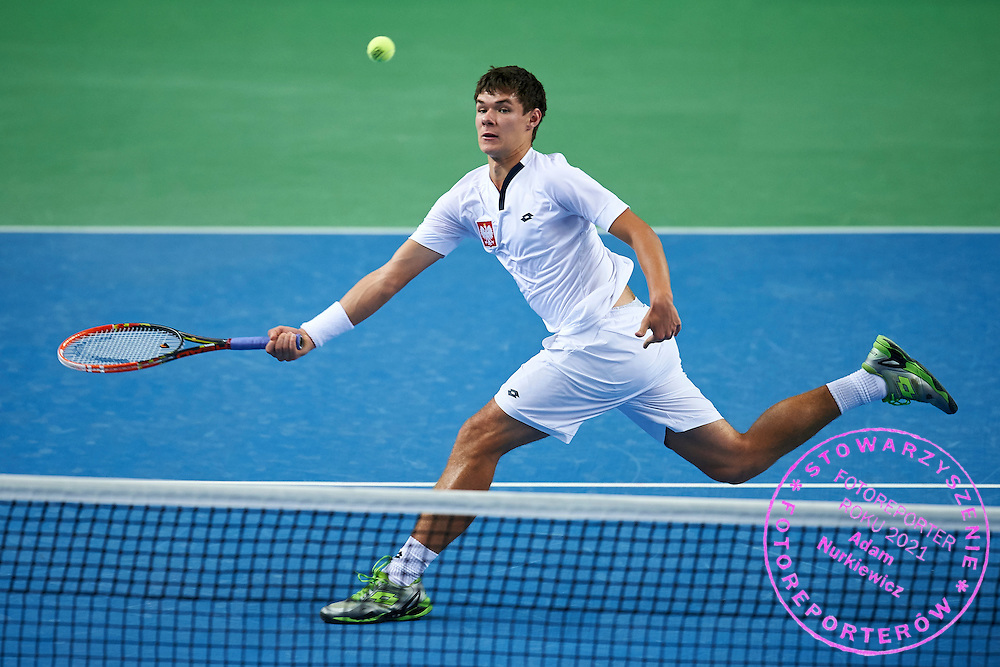 Kamil Majchrzak of Poland in action during third day the Davies Cup / Group I Europe / Africa 1st round tennis match between Poland and Lithuania at Orlen Arena on March 8, 2015 in Plock, Poland<br /> Poland, Plock, March 8, 2015<br /> <br /> Picture also available in RAW (NEF) or TIFF format on special request.<br /> <br /> For editorial use only. Any commercial or promotional use requires permission.<br /> <br /> Mandatory credit:<br /> Photo by &copy; Adam Nurkiewicz / Mediasport