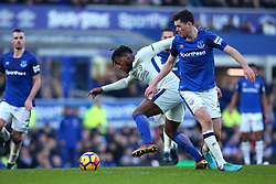 Michy Batshuayi of Chelsea goes past Michael Keane of Everton - Mandatory by-line: Robbie Stephenson/JMP - 23/12/2017 - FOOTBALL - Goodison Park - Liverpool, England - Everton v Chelsea - Premier League