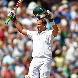 22/07/2012 London, England. South Africa's Jacques Kallis celebrates his century during the Investec cricket international test match between England and South Africa, played at the Kia Oval cricket ground: Mandatory credit: Mitchell Gunn