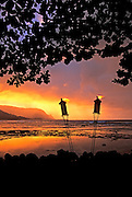 Image of Bali Hai from The St. Regis Princeville Resort beach at sunset, Kauai, Hawaii, America West