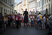 KRAKOW,POLAND 26 JUNE: Pilgrims from all over the world arriving to the main Market Square in 'Old Town' Krakow.