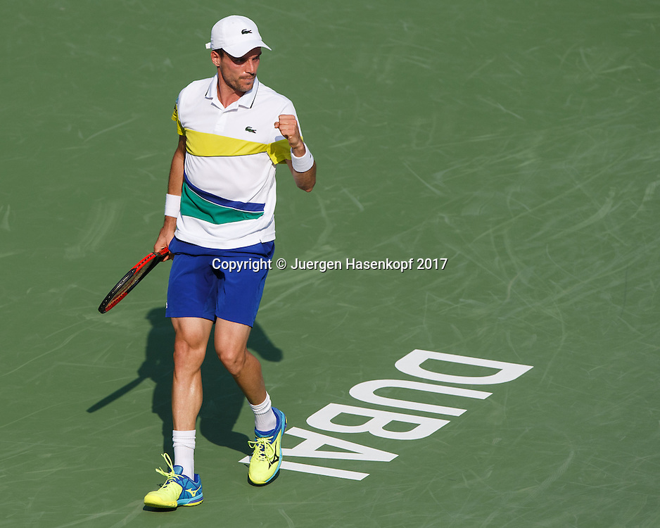 ROBERTO BAUTISTA AGUT (ESP) macht die Faust und jubelt,Jubel,Emotion,<br /> <br /> Tennis - Dubai Duty Free Tennis Championships - ATP -  Dubai Duty Free Tennis Stadium - Dubai -  - United Arab Emirates  - 1 March 2017. <br /> &copy; Juergen Hasenkopf