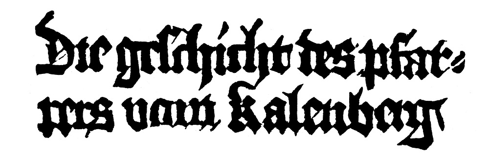 Philipp Frankfurter, The Historiy of the Priest of Kalenberg, circa 1490<br /> Frankfurter, Philipp, 1450 - 1511, German author / writer, works, Die Geschichte des Pfarrers von Kalenberg (The History of the Priest of Kalenberg), title, woodcut, Nuremberg, circa 1490,<br /> <br /> Photograph by INTERFOTO / Sammlung Rauch/Writer Pictures<br /> <br /> UK RIGHTS ONLY - NO AGENCY SALES UK RIGHTS ONLY / NO FOREIGN SALES / NO FOREIGN AGENT SALES
