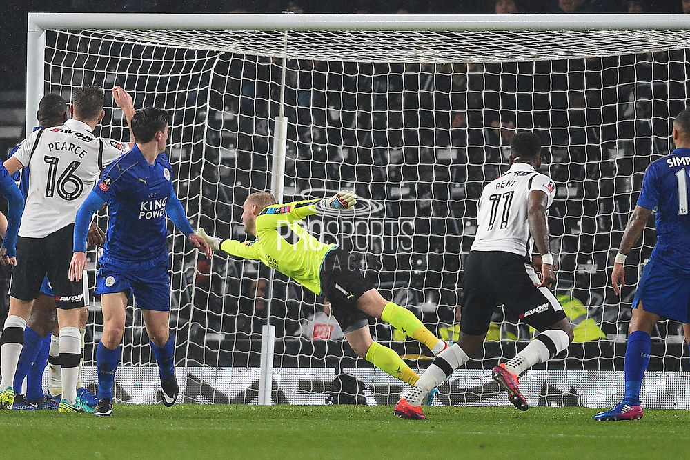 Derby County forward Darren Bent (11) watches the ball go into the back of the net after scoring a goal to make it 1-1 during the The FA Cup match between Derby County and Leicester City at the Pride Park, Derby, England on 27 January 2017. Photo by Jon Hobley. during the The FA Cup match between Derby County and Leicester City at the Pride Park, Derby, England on 27 January 2017. Photo by Jon Hobley.