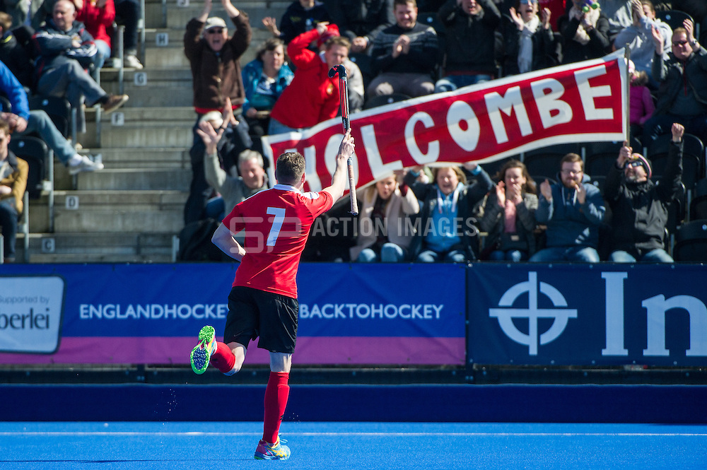 Holcombe's Gareth Andrews celebrates scoring their forth goal against Team Bath Buccaneers. Holcombe v Team Bath Buccaneers - Now: Pensions Finals Weekend, Lee Valley Hockey & Tennis Centre, London, UK on 12 April 2015. Photo: Simon Parker