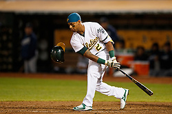 OAKLAND, CA - SEPTEMBER 09:  Khris Davis #2 of the Oakland Athletics strikes out against the Seattle Mariners during the eighth inning at the Oakland Coliseum on September 9, 2016 in Oakland, California. The Seattle Mariners defeated the Oakland Athletics 3-2. (Photo by Jason O. Watson/Getty Images) *** Local Caption *** Khris Davis