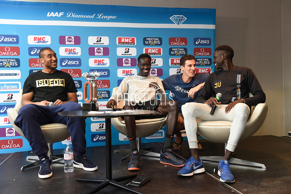 Jimmy Vicaut (FRA), Pierre-Ambroise Bosse (FRA) Joseph Deng (AUS) and Peter Bol (AUS) during press conference of Meeting de Paris 2018, Diamond League, at Hotel Marriott, in Paris, France, on June 29, 2018 - Photo Jean-Marie Hervio / KMSP / ProSportsImages / DPPI