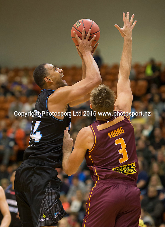 Breakers Mika Vukona puts up a shot. NBL Preseason basketball, NZ Breakers v Brisbane Bullets, PG Arena, Napier, New Zealand. Thursday 16 September, 2016. Copyright photo: John Cowpland / www.photosport.nz