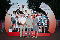 Grand Prix Youth Boys and Girls winners pose, during Prudential RideLondon,  2015 Saturday 1st August, 2015. <br /> <br /> Prudential RideLondon is the world&rsquo;s greatest festival of cycling, involving 95,000+ cyclists &ndash; from Olympic champions to a free family fun ride - riding in five events over closed roads in London and Surrey over the weekend of 1st and 2nd August 2015. <br /> <br /> Photo: Jon Buckle for Prudential RideLondon<br /> <br /> See www.PrudentialRideLondon.co.uk for more.<br /> <br /> For further information: Penny Dain 07799 170433<br /> pennyd@ridelondon.co.uk