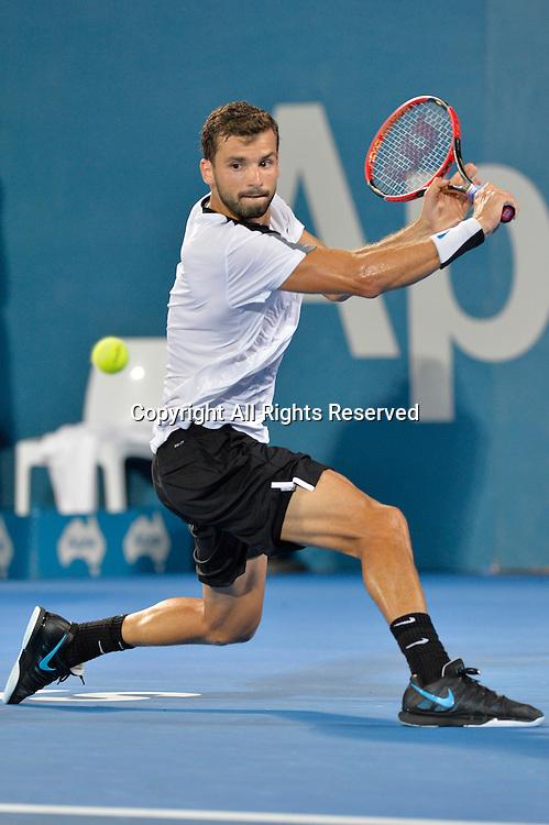 16.01.16 Sydney, Australia. Grigor Dimitrov (BUL) in action against Viktor Troicki (SRB) during their mens singles final match at the Apia International Sydney. Troicki won the final 2-6,6-1,7-6.