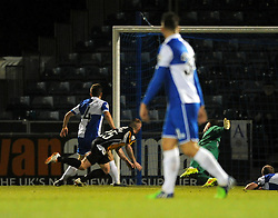 Gateshead's Matty Pattison scores the opening goal of the game. - Photo mandatory by-line: Dougie Allward/JMP - Mobile: 07966 386802 - 19/12/2014 - SPORT - football - Bristol - Memorial Stadium - Bristol Rovers v Gateshead  - Vanarama Conference
