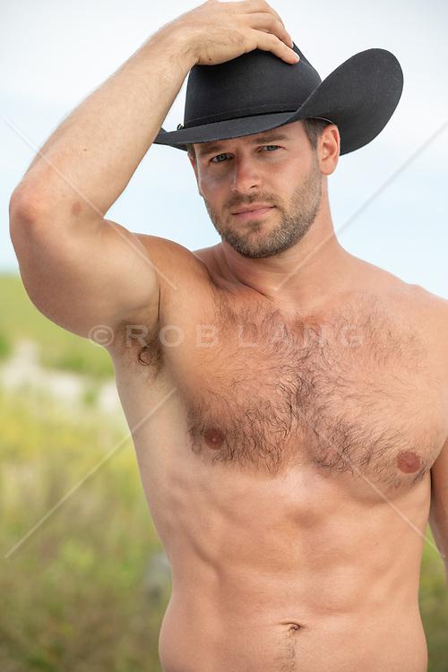 shirtless hot cowboy outdoors
