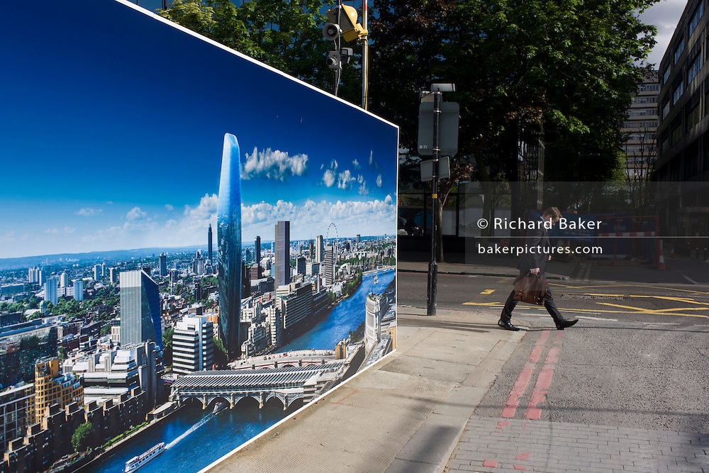 Pedestrian passes a large construction hoarding that shows 1, Blackfriars, a property development marketing suite hoarding landscape. 1 Blackfriars or One Blackfriars, will be a mixed-use development approved for construction at the junction of Blackfriars Road and Stamford Street at Bankside, London. The development make make up a 52-storey tower of a maximum height of 170m and two smaller buildings of 6 and 4 stories respectively. Uses include residential flats, a hotel and retail. In addition a new public space will be created.