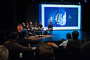 The PhotoNOLA Six Shooters Panel Discussion at the Contemporary Arts Center with, from left to right, David Halliday, Jane Fulton Alt, Linda Troeller, Andy Levin, Ellen Susan, Dan Cameron moderating, and Seth Boonchai