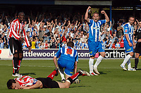 Photo: Ashley Pickering.<br /> Colchester United v Sunderland. Coca Cola Championship. 21/04/2007.<br /> Jamie Cureton of Colchester (no. 8) is goes down in the box and a penalty is awarded