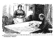 "Absent-minded Householder (who take the Census returns very seriously). ""Ah, Martha James - er, widow? - Er, age? H'm - thirty-five, h'm - male or female?"" Cook (indignantly). ""FEMALE!"" (an Edwardian era cartoon about the census shows a middle class owner and his servant)"
