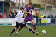 Ben parker and Harry Pell during the Vanarama National League match between Guiseley  and Cheltenham Town at Nethermoor Park, Guiseley, United Kingdom on 9 April 2016. Photo by Antony Thompson.