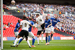 Peterborough Defender Shaun Brisley (ENG) scores a goal with a header to give his side a 2-0 first half lead - Photo mandatory by-line: Rogan Thomson/JMP - 07966 386802 - 30/03/2014 - SPORT - FOOTBALL - Wembley Stadium, London - Chesterfield FC v Peterborough United - Johnstone's Paint Trophy Final.