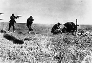 Execution of Kiev Jews by German army mobile killing units (Einsatzgruppen) near Ivangorod Ukraine 1942. World War II Holocaust. The photo was intercepted at a Warsaw post office by a member of the Polish resistance named Jerzy Tomaszewski.