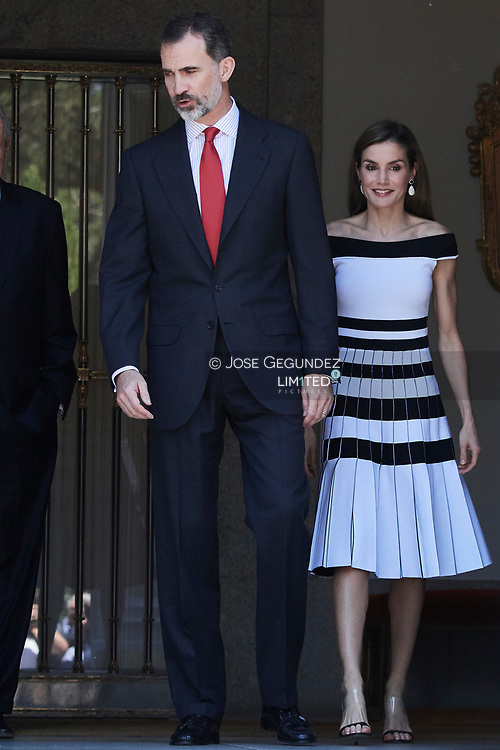 King Felipe VI of Spain, Queen Letizia of Spain atended an official lunch at Palacio de la Zarzuela with President of Peru, Pedro Pablo Kuczynski and wife Nancy Lange on June 13, 2017 in Madrid, Spain.