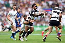 Malakai Fekitoa of the Barbarians offloads the ball after being tackled by Joe Marchant of the England XV - Mandatory byline: Patrick Khachfe/JMP - 07966 386802 - 02/06/2019 - RUGBY UNION - Twickenham Stadium - London, England - England XV v Barbarians - Quilter Cup International