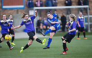 Farmington's Cheryl Kilcoyne fires in a shot in her side's 4-1 win over East Fife - Forfar Farmington v East Fife in the Scottish Womens' Premier League 2 at Station Park in  Forfar : Image &copy; David Young<br /> <br />  - &copy; David Young - www.davidyoungphoto.co.uk - email: davidyoungphoto@gmail.com