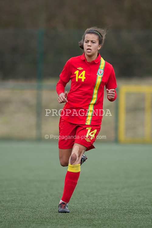 OSWESTRY, ENGLAND - Sunday, February 3, 2013: Wales' Shannelle Edwards in action against Norway during the Women's Under-19 International Friendly match at Park Hall. (Pic by David Rawcliffe/Propaganda)