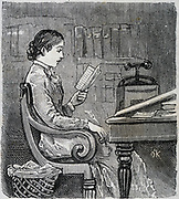 Lady editor replying to correspondence. Engraving 1885.