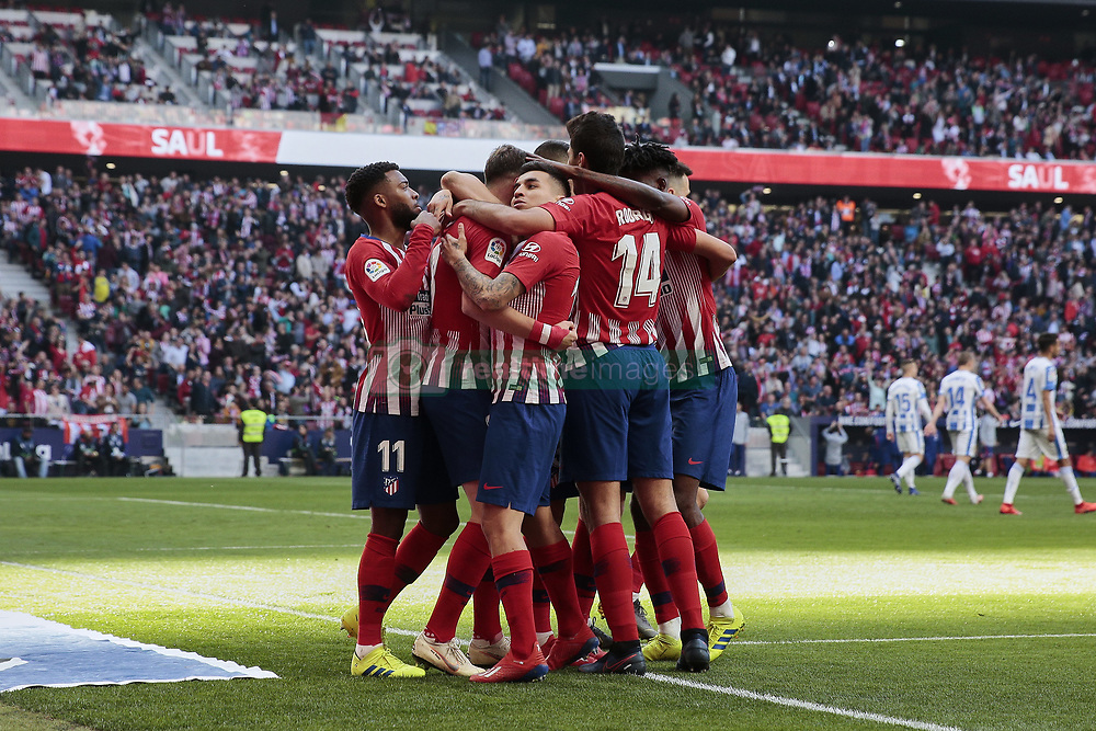 March 9, 2019 - Madrid, Madrid, Spain - Atletico de Madrid's players celebrate goal during La Liga match between Atletico de Madrid and CD Leganes at Wanda Metropolitano stadium in Madrid. (Credit Image: © Legan P. Mace/SOPA Images via ZUMA Wire)