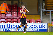 Bradford City defender Anthony McMahon (29) scores a goal from the penalty spot and celebrates to make the score 1-0 during the EFL Sky Bet League 1 match between Bradford City and AFC Wimbledon at the Coral Windows Stadium, Bradford, England on 22 April 2017. Photo by Simon Davies.