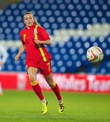 CARDIFF, WALES - Thursday, September 26, 2013: Wales' Natasha Harding in action against Belarus during the FIFA Women's World Cup Canada 2015 Qualifying Group 6 match at the Cardiff City Stadium. (Pic by David Rawcliffe/Propaganda)