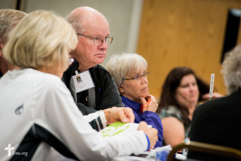 Glenn Shields listens during a session at The 72 Witness & Outreach Team Training on Thursday, Sept. 11, 2014, at the National Shrine of Our Lady of the Snows in Belleville, Ill. LCMS Communications/Erik M. Lunsford